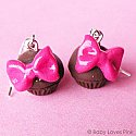 Pink Bow Princess Chocolate Cupcake Earrings
