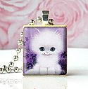 WHITE KITTEN VINTAGE (lavender) - Scrabble Tile Pendant
