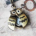 Flappy Wings Owl Locket Watch Necklace