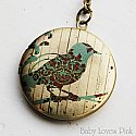 Bird on Branch Modern Floral Locket Necklace - Brass Photo Locket