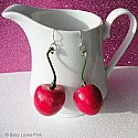 Large Red Cherry Earrings ( Life-Size )