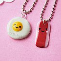 Kawaii Happy Bacon and Egg BFF Necklace