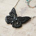 Lace Monarch Butterfly Necklace with Crystal