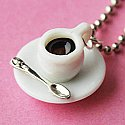 Dark Coffee Necklace - Tea Cup and Saucer