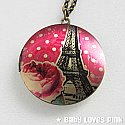 Eiffel Tower Pink Rose Locket Necklace