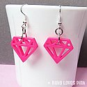 Diamond Plastic Earrings - Hot Pink, Light Pink, Lilac, White